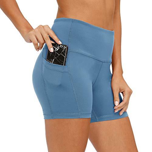 CQC Pantalones cortos de yoga de cintura alta para mujer, pantalones cortos de compresión para correr, para bicicleta, bolsillos laterales - - XS