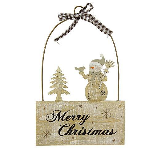Stefanazzi 1 Pieza Altura 22 cm decoración navideña Colgando Puerta de Madera muñeco de Nieve Decoraciones...