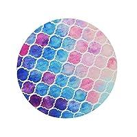 マウスパッド カラフルなレインボーモロッコデザイン 丸型 おしゃれ 柔軟 ゴム製裏面 ゲーミングマウスマット オフィス用 円形 滑り止め 耐久性が良い おもしろい 水彩 プリントパターン 花柄 (虹のパステル)