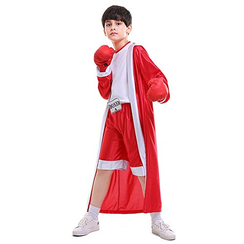 Kids Boys Boxing Costume Red Blue Boxer Cosplay with Boxing Gloves Robe Halloween Party Dress Decoration Role Playing Uniform Carnival (Red, S)