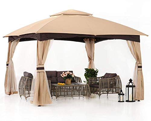 ABCCANOPY 10' x 12' Gazebos Patio Garden Gazebo with Mosquito Netting,Double Soft-top (Beige)