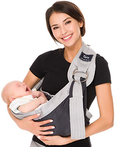 Cuby Breathable Baby Carrier Mesh Fabric, Ideal for Summers/Beachhe Adjustable Ring Sling Baby Carrier. Ergo Friendly (Gray)