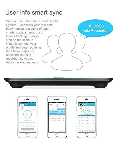 HAMSWAN Báscula Grasa Corporal, [Regalos Originales] Báscula de Baño Inteligente, Analizar Más de 12 Datos, Medidora Composición Bluetooth para Móviles Andriod y iOS, Escalalizador Inteligente