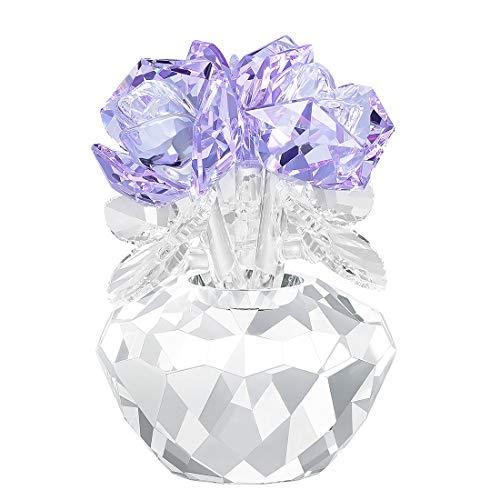 H&D Hyaline & Dora - Decorazione in cristallo a forma di bouquet di rose, in confezione regalo, Vetro, Viola