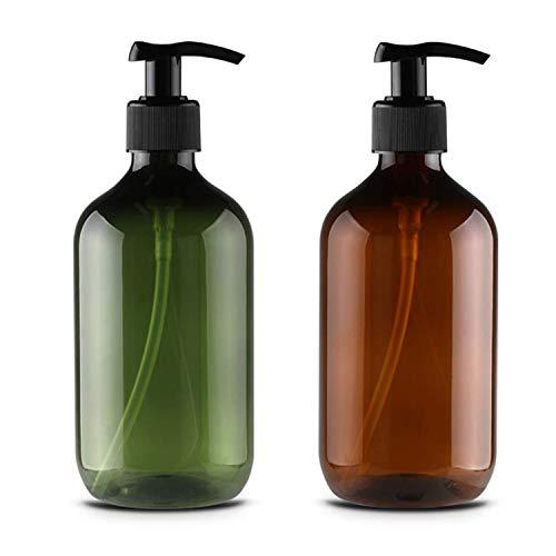 JamHooDirect 2Pcs 300ml / 10oz Leere Plastikpumpenflaschen, nachfüllbare Lotion Shampoo Körperwaschcreme Duschgel Aufbewahrungshalter Behälter Toilettenartikel Flüssigspender (grün & braun)