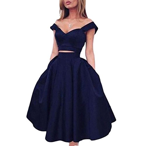 Navy Blue Short 2 Piece Homecoming Dresses 2018 Cocktail Dress 8th Grade Prom Dresses Modern Simple Style Vestido De Festa Curto Navy-US4