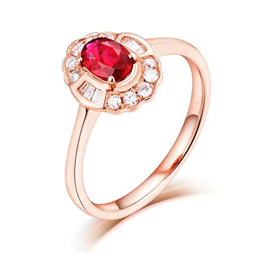 AnazoZ Anillo de Rubi Mujer,Anillo Oro Rosa 18K Oro Rosa y Rojo Oval Rubí Rojo 0.5ct Diamante 0.35ct Talla 28