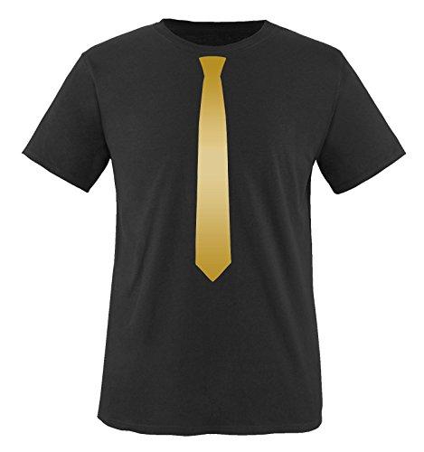 Comedy Shirts - Krawatte - Kinder T-Shirt - Schwarz/Gold Gr. 134-146