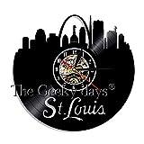 SSCLOCK Wanduhr Wohnkultur Saint Louis Schallplatte Wanduhr Stadt Silhouette Dekorative Uhr