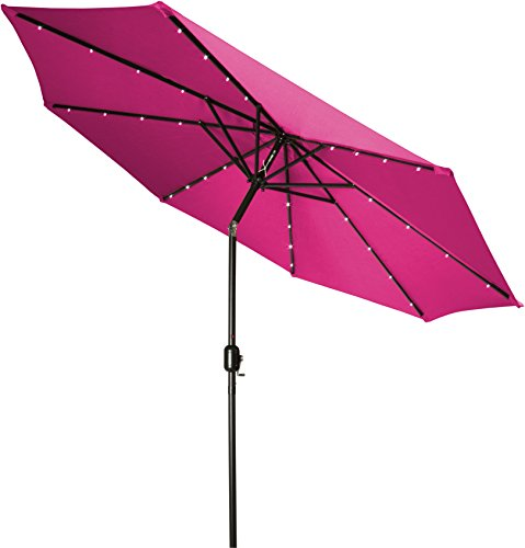 Trademark Innovations Deluxe Solar Powered LED Lighted Patio Umbrella, 9', Pink