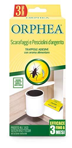 Orphea Insetticida, Trappole Adesive Senza Veleno, ad Azione Naturale e Inodore Contro Scarafaggi, 3 Trappole