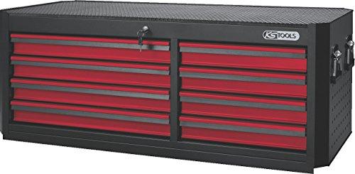 KS Tools 876.0018 MASTERline Großraum-Werkstattwagenaufsatz, mit 8 Schubladen schwarz/rot