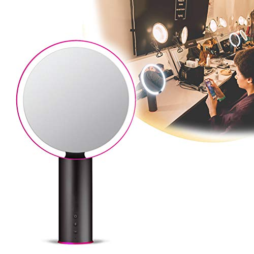 JINGBO Smart Lighted Makeup Mirror with Natural Daylight LED Lights, High Definition Countertop Vanity MirrorVanity Mirror, Rechargeable and Cordless, Adjustable Brightness