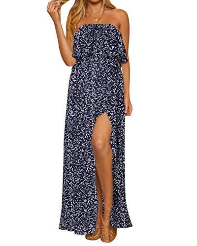 ACHIOOWA Maxikleid Sexy Bandeau Sommerkleid Lange Trägerlos Casual Freizeitkleid mit Schlitz Marine-B91654 XL