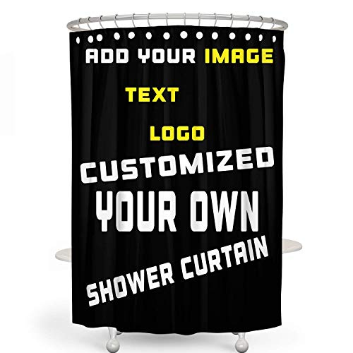 Custom Shower Curtain, Add Your Own Designs Design Photo or Text Logo Picture, Personalized Bathroom Shower Curtain 60x72in (Black)
