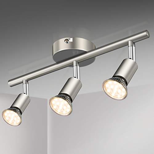 Defurhome LED Deckenleuchte Drehbar, 3 Flammig LED Strahler Deckenlampe Spot,Modern Deckenstrahler (Mattes Nickel), inkl. 3 x 3.5 W GU10 LED Lampen (380LM, warmweiß)