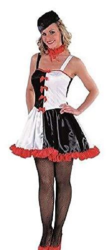 narrenkiste M213184-XS - Vestido de arlequn para mujer, talla XS, color negro, rojo y blanco