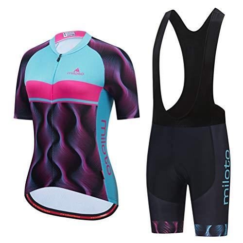 Uriah Women's Cycling Jersey Bib Shorts Set Black Short Sleeve Breathable Purple Blue Size S(CN)