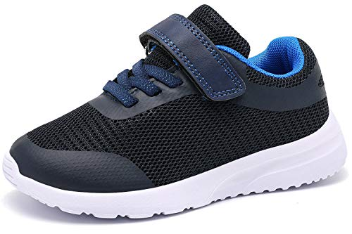 RIBONGZ Wide Toddler Boy Tennis Shoes Slip On Little Boys Sneakers for Running Athletic Walking Outdoor/Indoor Black/Blue Size 8