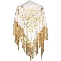 La Señorita Mantones bordados Flamenco Manton de Manila blanco oro Flecos oro