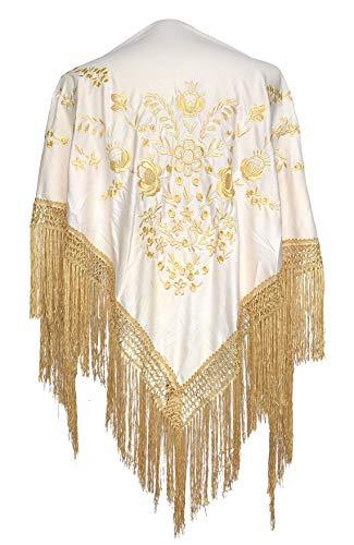 La Senorita Spanischer Manton Tuch - weiß mit golden Blumen Franzen Gold