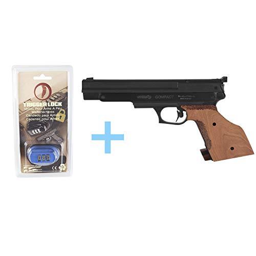 Gamo Pack Pistola Aire Precomprimido (CO2) Compact/Full Metal, Pistola perdigones, Potencia de 3 Julios, 4.5 mm, Disparador Dos Tiempos Regulable, cachas de Madera + Candado de Seguridad Yatek.