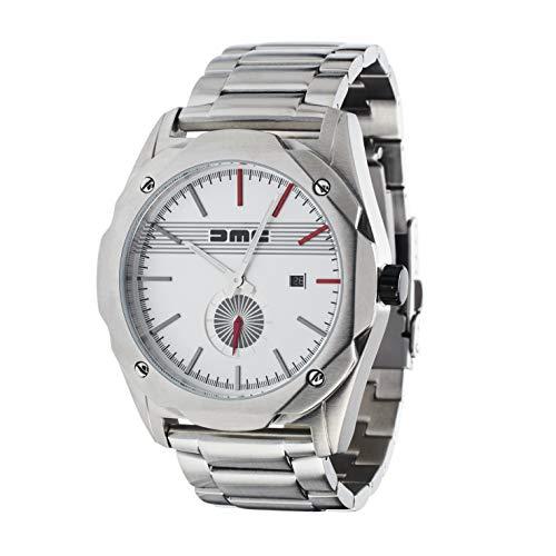 DMC DeLorean - Live the Dream Steel Watch per uomo | DeLorean Motor Company | Cassa in acciaio inossidabile da 49 mm | Resistente all'acqua e ai graffi di 50 m | Quadrante argento chiaro | Bracciale i