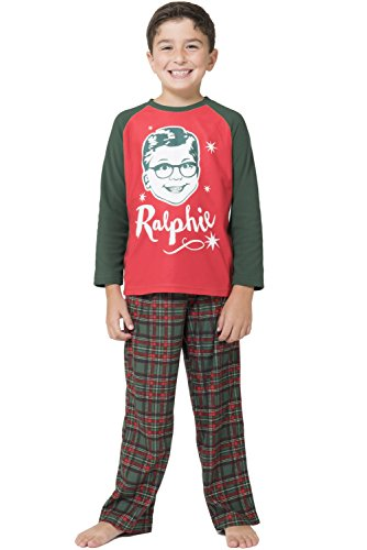 A Christmas Story Boys 'Ralphie Glasses Triple Dog Dare You' Christmas Holiday Plaid Pajama Set, Green, 8