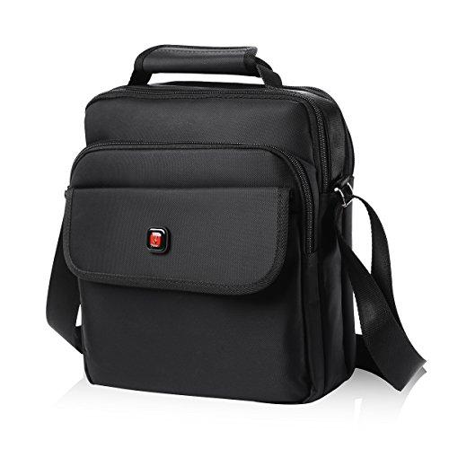 Soperwillton Vertical Shoulder Messenger Bag for iPad, Tablet and Laptop Upto 14'