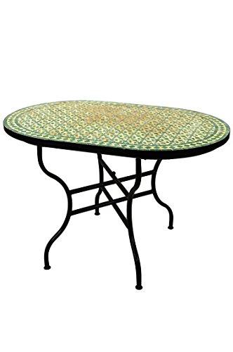 ORIGINAL Marokkanischer Mosaiktisch Gartentisch 120x80cm Groß eckig oval klappbar | Eckiger klappbarer Mosaik Esstisch Mediterran | als Klapptisch für Balkon oder Garten | Albaicin Beige Grün 120x80cm