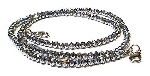 Generisch Maskenkette in 2er Set für Damen/Herren aus Perlen; Handgefertigt; Zwei Stück im Set in silberner Farbe