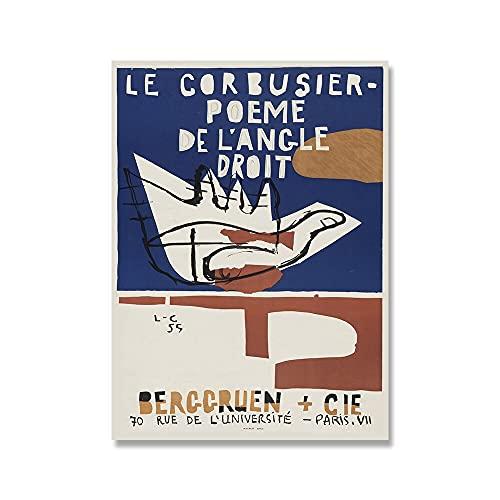 Cuadros abstractos Decoración abstracta moderna, carteles e impresiones de la exposición de Le Corbusier, cuadros de lienzo sin marco A1 15x20cm
