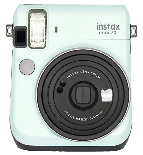 Fujifilm Instax Mini 70 - Instant Film Camera (Icy Mint) and Instax Mini Rainbow Film Value Pack - 10 Images