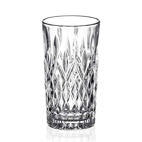 Amisglass Juego de Vaso de Whisky, Vaso Set 4 Piezas de Cristal Sin Plomo para Whisky, Vino, Highball para Licores Whisky, Taquila, Gin con Caja Regalo. Cócteles y Jugo - 350 ml