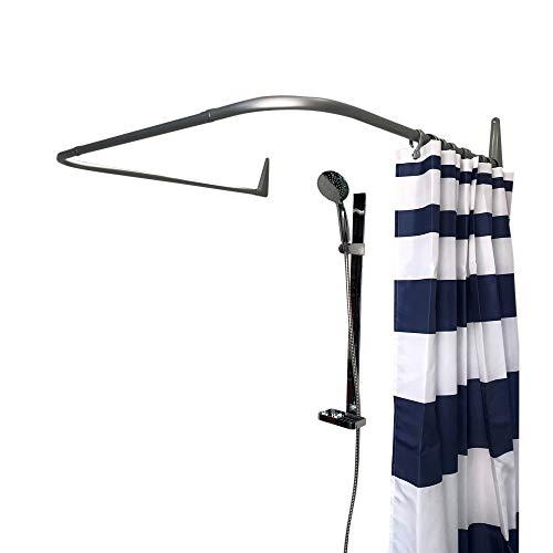 Erica Duschvorhangstange 85x95x85 cm, Wandmontage ohne Deckenbefestigung - Silber Matte PVC Beschichtung, 100% rostfrei