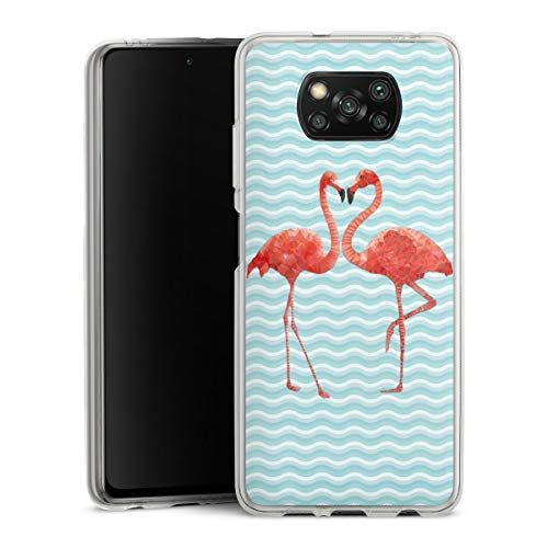 DeinDesign Silikon Hülle kompatibel mit Xiaomi Poco X3 NFC Case transparent Handyhülle Flamingo Sommer Pool