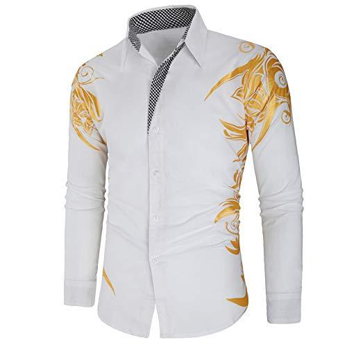 Camisa de Hombre de Manga Larga con Estampado de Flores Doradas Laterales, Solapa Color sólido Top Botones Negros Blusa Informal