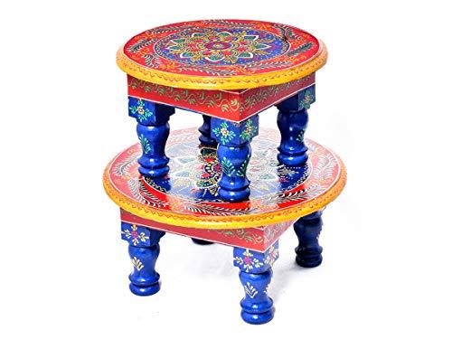 Jaipur handicrafts hub Lot de 2 tabourets de table multicolores pour prières quotidiennes Puja Chowki et Bajot