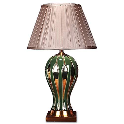 Keramik Tischlampe, Dunkelgrün Metall-Tischlampe, Nachttischlampe Wohnzimmer Schlafzimmer Arbeitszimmer Schreibtischlampe Button Switch E27
