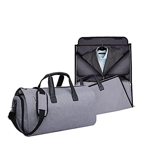 Calma Dragon Bolsa Portatrajes, Funda de Viaje para Trajes y Vestidos, Carry-On Garment Bag, con Compartimentos para Zapatos y Correa Ajustable para Hombro, Ideal para Negocios, para Avión (Gris)