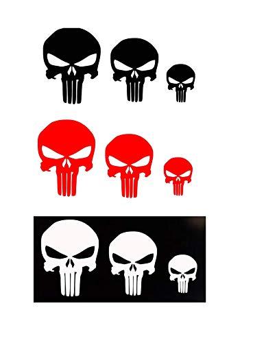Punisher Skull Vinyl Decal Sticker White Black Color for Car Trucks Hyro Flask Bottles Window Bumper Laptop Wall Motorcycles Helmets Guns Sniper Marines Army Navy Military