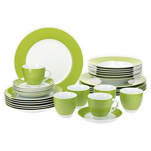 Van Well Vario hochwertiges Porzellan Geschirrset für 6 Personen für Gastro Hotel Privat I zweifarbiges Speiseservice-Tafel-Set Spülmaschinensicher I Kombi-Service 30-teilig Weiss grün