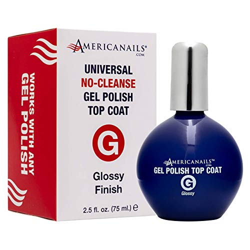 Americanails Gel Polish Top Coat - Original Dual Cure Formula for Maximum Adhesion, Long Lasting, Soak Off UV LED Fast Drying Gel Nail Lacquer - Glossy Finish, Pro Size (2.5 oz)