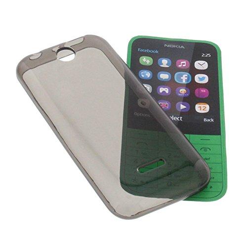 foto-kontor Tasche für Nokia 225 Gummi TPU Schutz Handytasche transparent grau