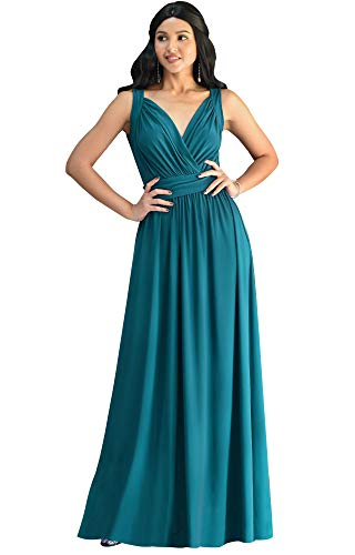 KOH KOH Womens Long Sleeveless Flowy Bridesmaids Cocktail Party Evening Formal Sexy Summer Wedding Guest Ball Prom Gown Gowns Maxi Dress Dresses, Blue Green Jade M 8-10