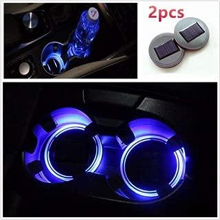 TRUE LINE Automotive 2 Piece Blue Solar Energy Cup Holder LED Insert Interior Car Light Lamp Kit