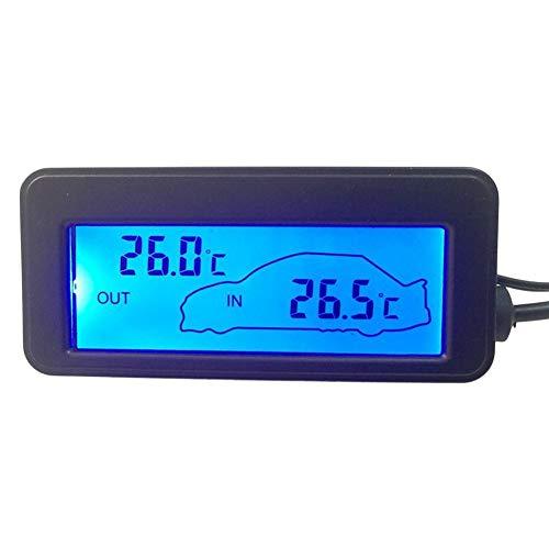 WATERFAIL DC12V Auto-Digital-Thermometer, LCD-Auto-Innen- / Außentemperaturanzeige Für LKW Und LKW - Hintergrundbeleuchtung Zwei Kann Ausgewählt Werden
