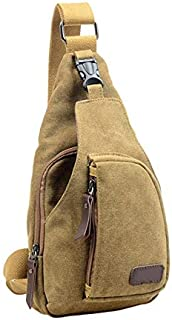 Wultia - Outdoor Sports Canvas Unbalance Travel Camping Sport Crossbody Shoulder Bag Chest Bag for Travel Hiking Day Bag #M09 Khaki