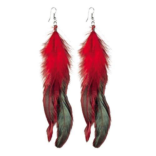 Amakando Llamativos Pendientes étnicos Squaw con Plumas / Rojo-Negro 12cm / Aretes Boho Disfraz India Carnaval y Fiestas temáticas