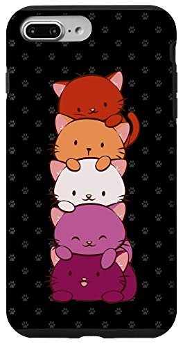 iPhone 7 Plus/8 Plus Orange Pink Lesbian Pride Flag Cute Kawaii Cat Case